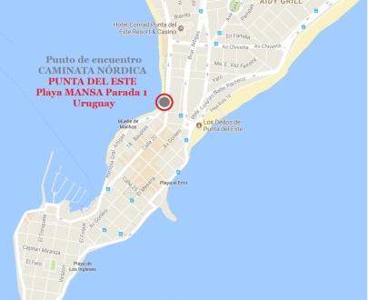 Mapa punto de encuentro Parada 1 Playa Mansa Pta del Este
