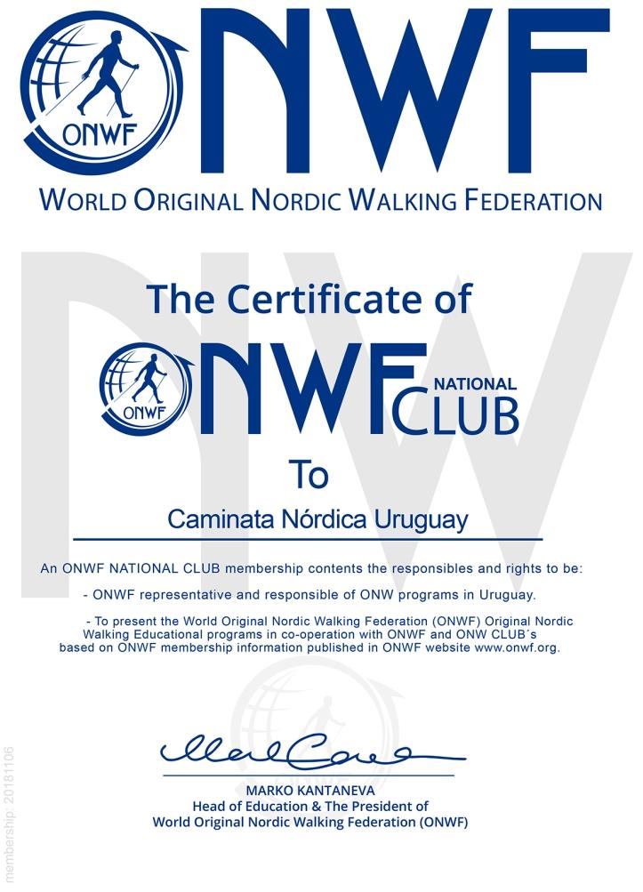 The Certificate of Caminata Nórdica UruguayONWF national Clu